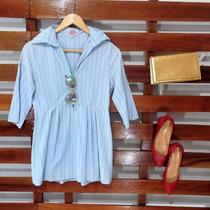 Bata Em Algodão Azul Clara Com Decote Nas Costas