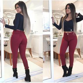 Calça Jeans Feminina Skinny Estilo Pit Bull Moda Escuro