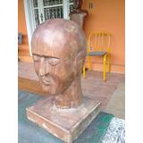 Busto Manequim Antigo De Madeira Cabeça Boné Confecção