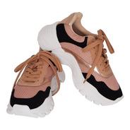 Tênis Sneaker Feminino Preto E Nude Super Confortável