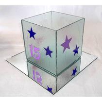 Centros De Mesa 15 Años- Fanales En Vidrio Pintado 15x15 Cms
