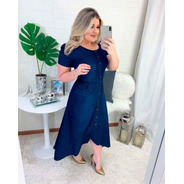 Vestido Jeans Midi Mullet Evangelico Babados Moda Feminina