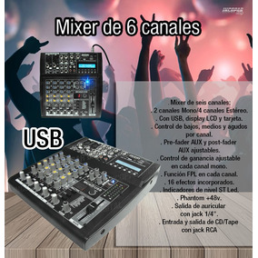 Consola Mixer Moon Mc602 6 Canales-usb-sd-16 Efectos