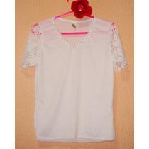 Roupas Femininas, Camiseta Customizada Com Renda E Pérola