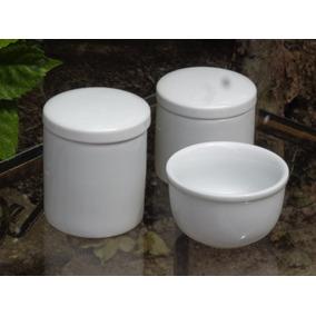 Kit Higiene Bebê Porcelana Branca 03 Pçs Potes Cumbuca
