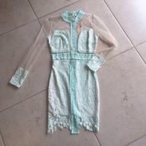 Vestido Corto Color Menta / Nude Encaje