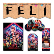 Kit Stranger Things Invitaciones Banderín Stickers Impreso