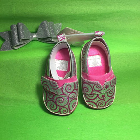 Zapatos Bebe Niña Brillosos Bonitos Suela Suave Rosa/plata