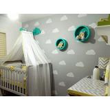 Adesivo Decorativo De Parede Nuvens Quarto Bebe Berço Crianc