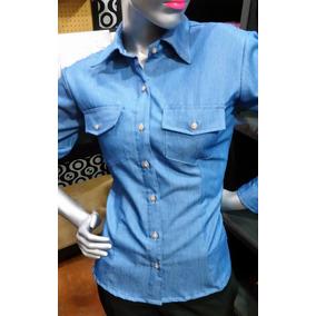 Camisa Para Dama Jeans/denim Manga Larga Talla Xl - 2xl