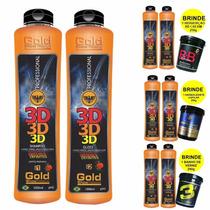 3 Escovas Definitiva 3d Gold Show Premium + Brindes