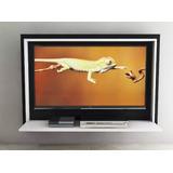 Mueble Rack Tv Melamina Flotante 42 Pulgadas Cables Ocultos