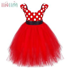Vestido Infantil De Festa Meninas Minnie Vermelha Com Tiara