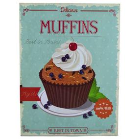 Placa Decorativa Muffins Retro Vintage Cozinha Quadro Cupcak