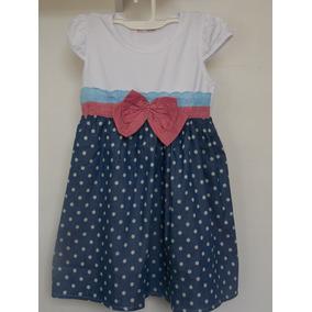 Vestido Infantil Menina Malha C/ Tecido Bolinhas + Laço