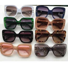 Óculos De Sol Grande Quadrado Acetato Chic Com Brinde