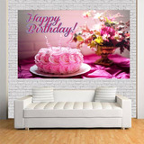 Poster Decorativo Happy Birthday Bolo Grande1,20por 80cm