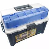 Caixa Maleta De Pesca Nautik Box 007 Azul + Estojo Multi Uso