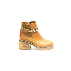 Zapato Lucerna Botineta Cuero Suela Pulsera Tachas