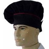 Chapéu Chef De Cozinha Mestre Cuca,preto Com Vermelho