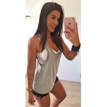 Blusa Regata Feminina Vest Legging Com Pedrarias Decote