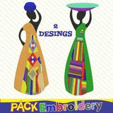 Mujeres Campo Set 2 Diseños Bordados Matrices Tajima Pes