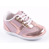 Sapatinho Bebe Infantil Feminino Dourado Rose Bronze 17 A 22