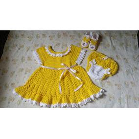 Vestido Calcinha E Sandália De Crochê Para Bebê