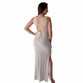Vestido Longo De Tricô Formatura Fenda Cordão Costas Rendado