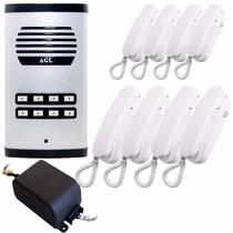 Kit Porteiro Eletrônico Coletivo 8 Pontos Com 8 Interfones