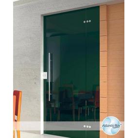 Porta Blindex 2,10 X 0,90 De Correr Vitron 8mm Verde / Fume