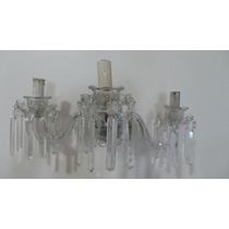 Tck Par Arandelas Antigas Em Cristal Baccarat Com 3 Lâmpadas