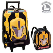 Mochila Infantil Transformers Rodinhas 3d + Lancheira