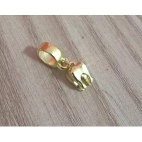 Berloque Pingente Dentista Odontologia Dente Folheado Ouro