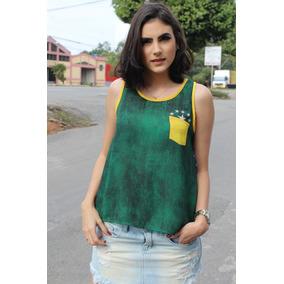 Blusa Feminina Estampa Brasil - Camisetas e Blusas no Mercado Livre ... 6f9208c52c681