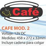 Cartel Led Cafe Mod2 12vdc 458x272x32mm Con Cadena Colgar