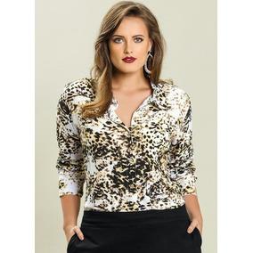 Linda Camisa Plus Size Estampa Onça Frete Grátis