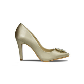 Trender Zapatilla Tipo Stiletto Color Oro Con Herraje