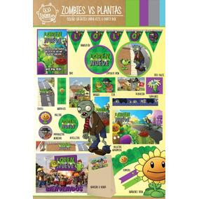 Kit Imprimible Zombie Vs Plants Deco Candy Bar Cumpleaños