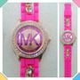 Reloj Mk De Goma Para Dama Con Diamante Joangi 2017