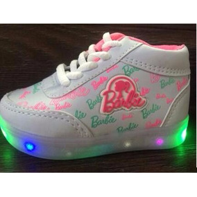 Tenis Bebe Barbie Sapato Led Cano Meio Alto Feminino Menina