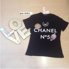 Camiseta Blusa Feminina Chanel Gola Choker