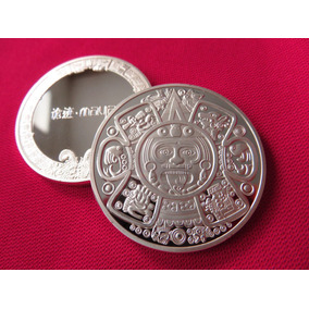 Moneda Calendario Azteca Baño En Plata