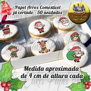 Natal Papel De Arroz Para Biscoito Papai Noel  50 Unidades