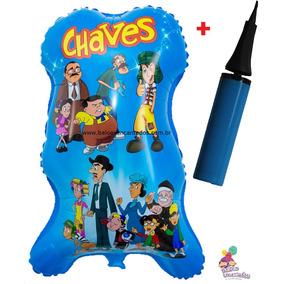 Balão Metalizado Turma Do Chaves. Pacote Com 20 Unids+bomba