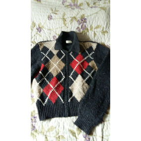 Saco Sweater Campera De Lana Mujer Rombos Gris Rojo