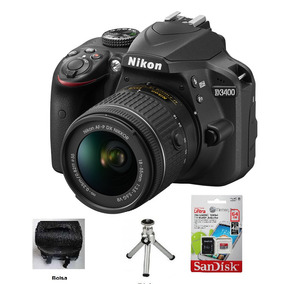 Camera Nikon D3400 Lente 18x55mm Mais 64gb Bolsa E Tripe