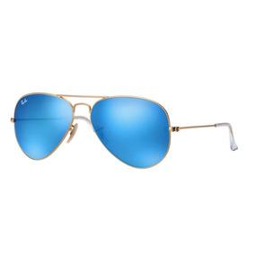 794b33a32 Óculos Rayban 3026 Armação Dourada E Lente Azul Polarizado De Sol ...