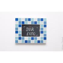 Porta Retrato 20 X 25 Com Moldura Mosaico Azul E Branca