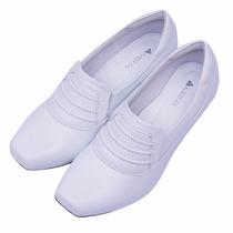 Sapato Branco Feminino De Couro - Neftali -enfermagem - 4015
